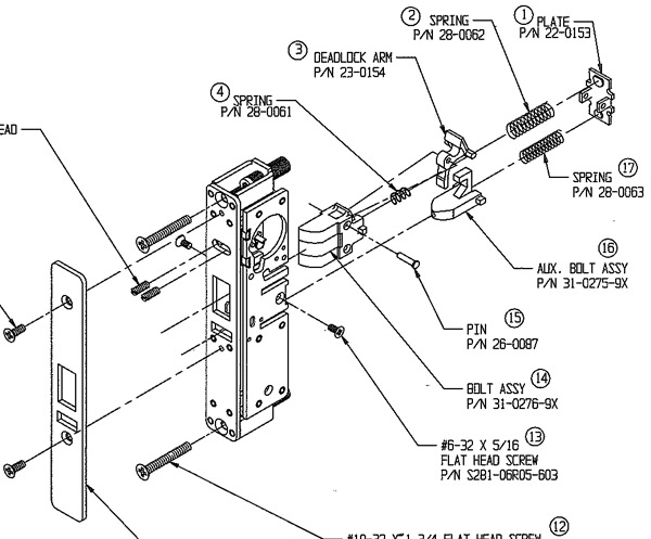 Detail from discontinued Adams Rite 4710 Latch parts breakdown, from Adams Rite parts book