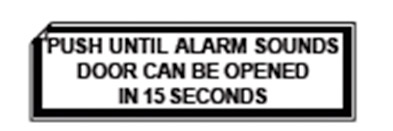 Chexit door label from Chexit installation instructions.